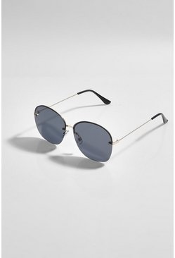 Gradient Smoke Black Oversized Sunglasses