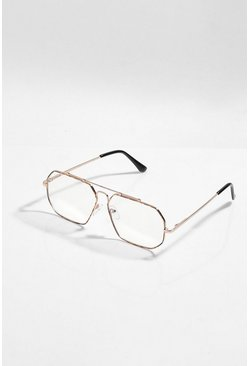 Tort Metal Frame Clear Sunglasses