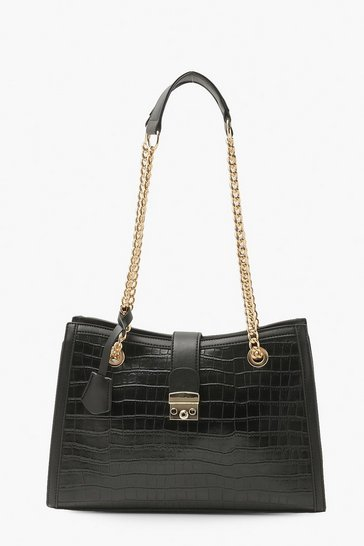 Black Croc Shoulder Lock Bag