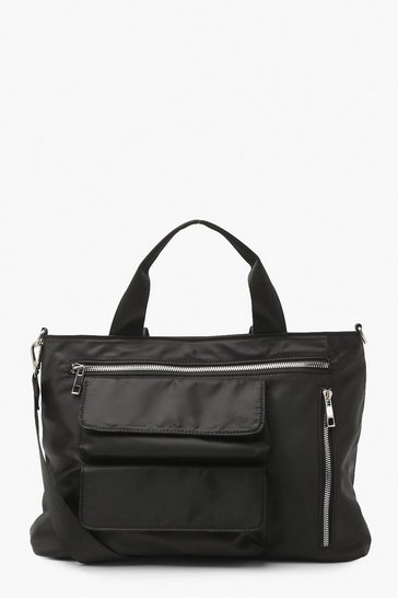 Black Multi Pocket Nylon Bag