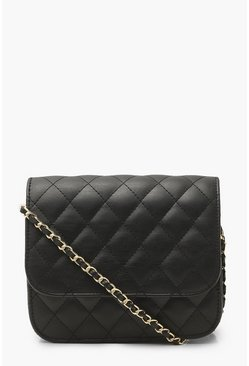 Black Simple Quilted Cross Body