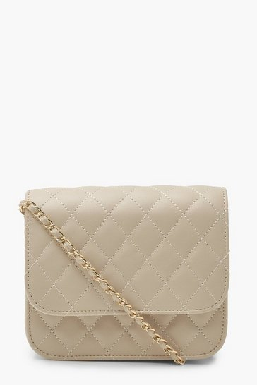 Cream white Simple Quilted Cross Body