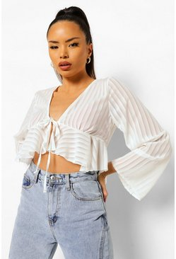 Ivory white Woven Stripe Ruffle Tie Front Top