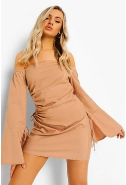 Sand beige Cut Out Ruched Off The Shoulder Mini Dress