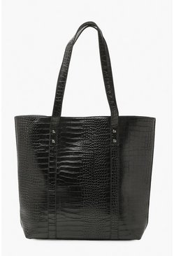 Black Easy Croc Tote