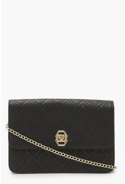 Black Quilted Twist Lock Cross Body