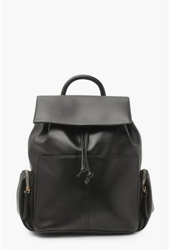 Black Double Pocket Backpack