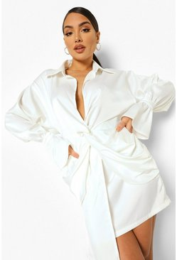 White Plunge Drape Detail Shirt Dress