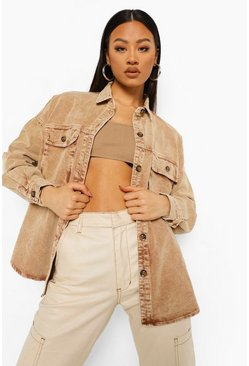 Stone beige Washed Cord Oversized Shirt