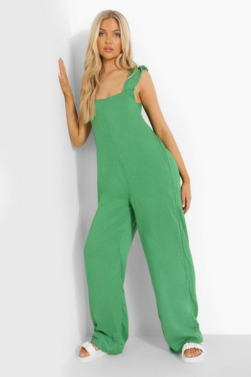Green Cheesecloth Tie Back Jumpsuit