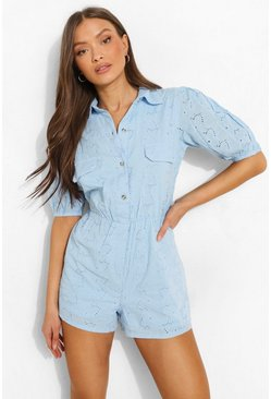 Light blue blue Puff Sleeve Pocket Detail Broderie Playsuit
