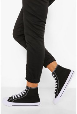 Black Wide Fit High Top Canvas Trainers
