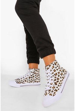 Leopard multi Wide Fit High Top Canvas Trainers