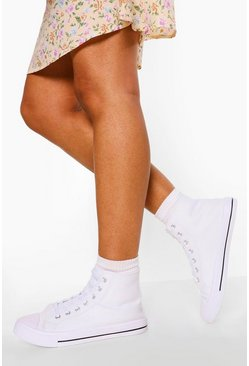 White Wide Fit High Top Canvas Trainers