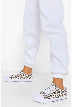 Leopard multi Wide Fit Canvas Trainers