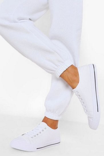 White Wide Fit Low Top Canvas Trainers