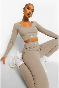 אפור חום Beige Premium Rib Long Sleeve Crop Top