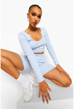 Pale blue blue Blue Premium Rib Long Sleeve Crop Top