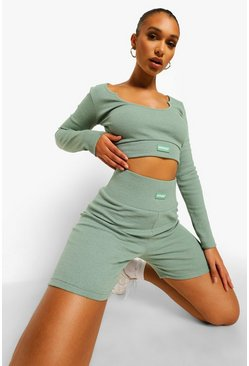 Sage green Premium Rib Long Sleeve Crop Top