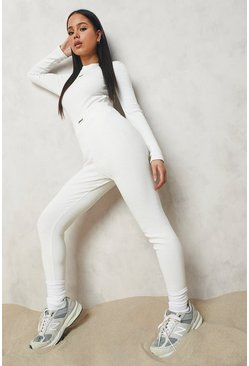 Ecru white Premium Rib Crew Neck Long Sleeve Bodysuit