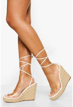 White Clear High Wrap Up Wedge