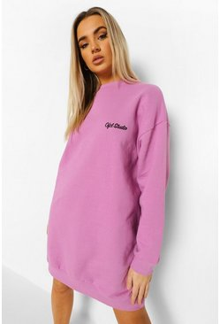 Lilac purple Ofcl Studio Embroidered Sweat Dress