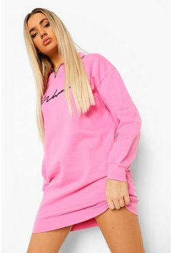 Pink Woman Signature Half Zip Sweat Dress