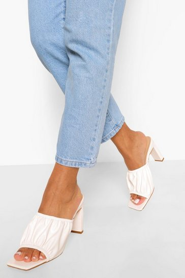 White Ruched Square Toe Mule
