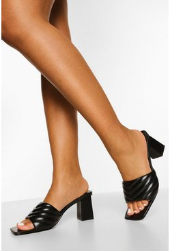Black Quilted Block Heel Mule