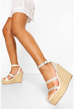 White Diamante Double Strap Wedge