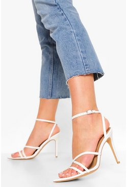White Strappy Minimal Pointed Toe Sandal