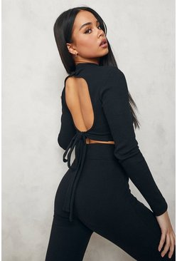 Black High Neck Tie Back Crop Top