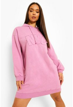 Lilac purple Nyc Acid Wash Hoodie Dress