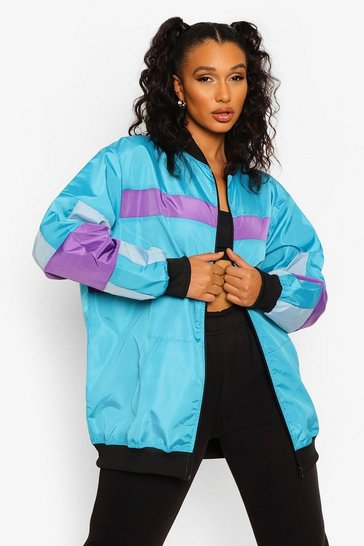 Blue Lilac Panelled Bomber Jacket