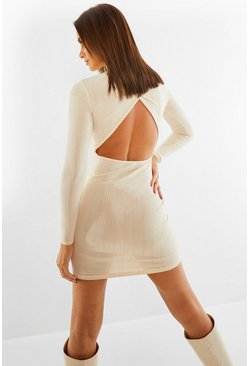 Stone beige High Neck Open Back Soft Jumbo Rib Mini Dress