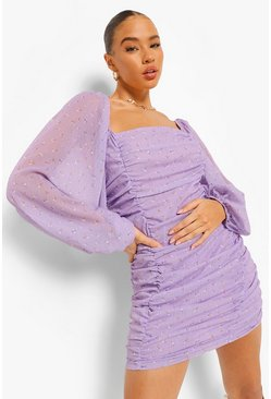 Lilac purple Long Sleeve Ruched Front Chiffon Mini Dress