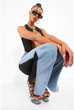Light blue blue Contrast Boyfriend Jeans With Split Hem
