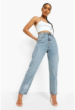 Light blue blue Denim Basic Straight Leg Jean