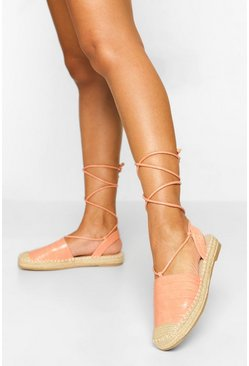 Light pink pink Croc Wrap Up Espadrille Sandal