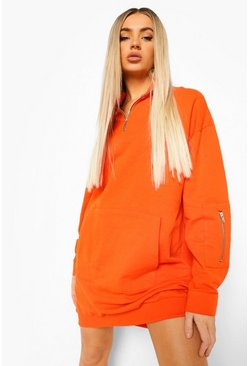 Orange Utility Zip Detail Sweat Dress