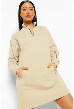 Sand beige Utility Zip Detail Sweat Dress