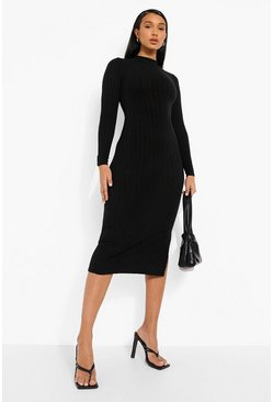 Black High Neck Jumbo Rib Long Sleeve Midaxi Dress