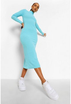 Blue High Neck Jumbo Rib Long Sleeve Midaxi Dress