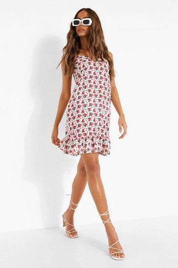 White Floral Print Drop Hem Mini Dress