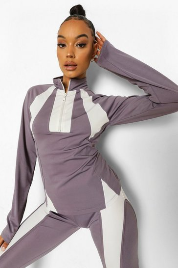 Grey Ofcl Contrast Stitch Body Shaping Funnel Neck