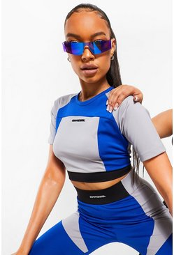Cobalt blue Ofcl Colour Bust Shaping Block Crop Top