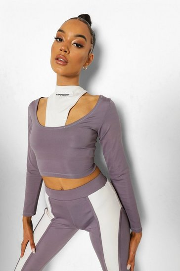 Grey Ofcl Cutout Bust Shaping Halter Top