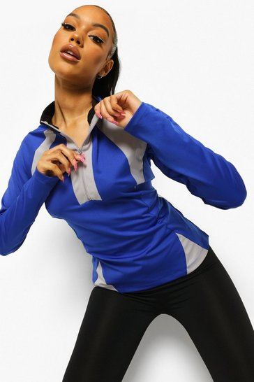 Cobalt blue Ofcl Colour Block Funnel Neck Body Shaping Top