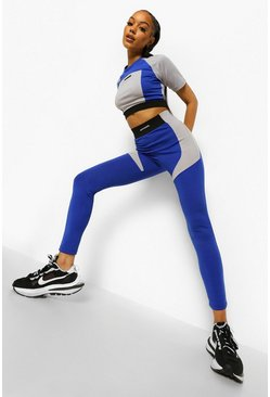 Cobalt blue Ofcl Colour Block Body Shaping Leggings
