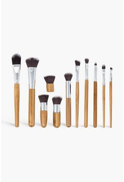 11 pennelli per make up in bamboo Zoe Ayla , Legno marrone